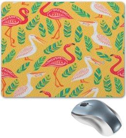 """Коврик для мышки """"Птицы"""" - листья, природа, птицы, фламинго, пеликан"""