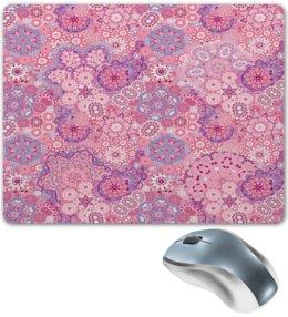 """Коврик для мышки """"Розовый узор"""" - узор, снежинки, кружево, цветы, весна"""