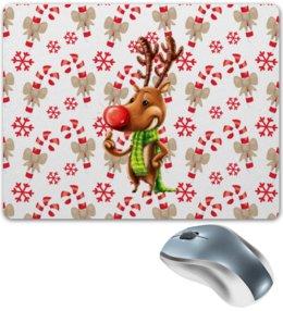 """Коврик для мышки """"новый год"""" - новый год, зима, подарки, снежинки, олень"""