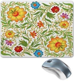 """Коврик для мышки """"Цветочный узор"""" - цветы, узор, листья, хохлома, роспись"""