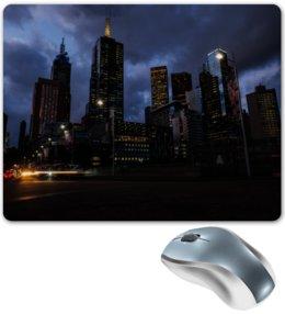 """Коврик для мышки """"Город"""" - город, здания, огни, вечер, мегаполис"""