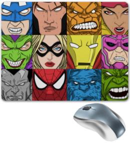 """Коврик для мышки """"Marvel Heroes"""" - комиксы, марвел, капитан америка, халк, человек-паук"""