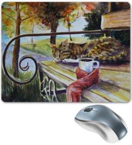 """Коврик для мышки """"Осеннее тепло"""" - кот, осень, чай, уют, осенний парк"""
