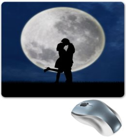 """Коврик для мышки """"Влюбленные"""" - влюбленные, любовь, луна, ночь, поцелуй"""