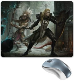 "Коврик для мышки ""Diablo III"" - крестоносец, колдун, диабло 3, witch doctor, crusader"