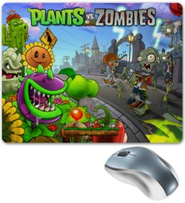 "Коврик для мышки ""Plants vs zombies"" - игры, plants vs zombies, растения против зомби, zombies, video games"
