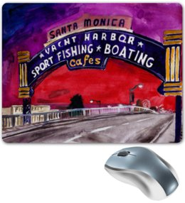 "Коврик для мышки ""santa monica"" - коврик, beach, california, santa monica"