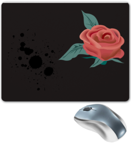 "Коврик для мышки ""Роза"" - black and white, удо, удоная"