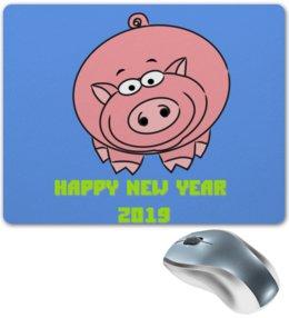 """Коврик для мышки """"Веселая свинья новый 2019 год"""" - новый год, подарок, свинья, 2019"""