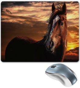 """Коврик для мышки """"Закат"""" - животные, лошадь, закат, пейзаж, кони"""
