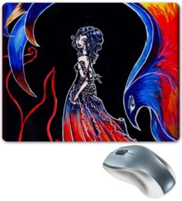 """Коврик для мышки """"Феникс и девушка"""" - девушка, птица, рисунок"""
