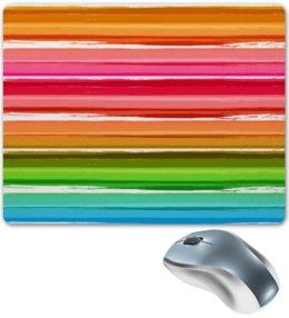 """Коврик для мышки """"Радуга"""" - узор, радуга, рисунок, полосатый, красочный"""