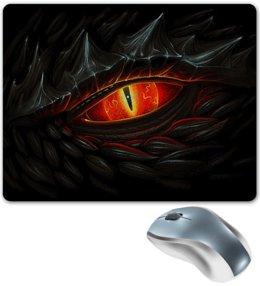 """Коврик для мышки """"ГЛАЗ ДРАКОНА"""" - животные, дракон, красные глаза, стиль эксклюзив креатив красота яркость, арт фэнтези"""