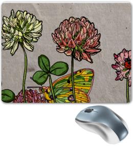 """Коврик для мышки """"клевер"""" - бабочка, лето, цветы, клевер, мило"""