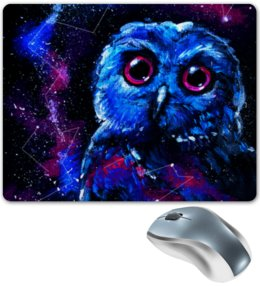 """Коврик для мышки """"Space Owl"""" - звезды, космос, сова, птички, совенок"""