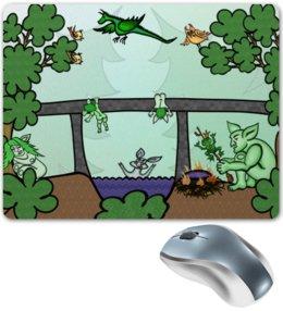 """Коврик для мышки """"Семья троллей живет под мостом"""" - дракон, отдых, семья, природа, тролли под мостом"""