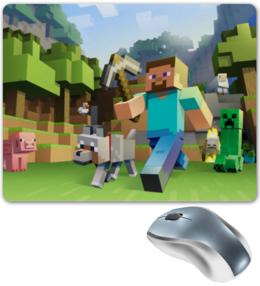 """Коврик для мышки """"Minecraft"""" - арт, zombie, minecraft, creeper, steve"""