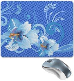 "Коврик для мышки ""Лилии"" - цветы, голубой, синий, лилия, ромб"