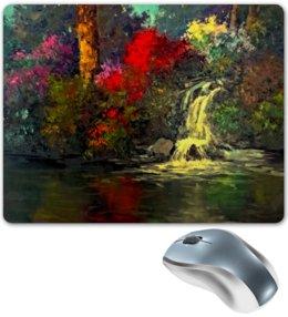 """Коврик для мышки """"Водопад"""" - картина, краски, природа, пейзаж, водопад"""