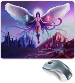 """Коврик для мышки """"Ангел прошлого и будущего"""" - крылья, ангел, руны, будущее"""