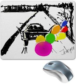 """Коврик для мышки """"Двое на дороге"""" - дорога, машина, воздушные шары, balloons"""