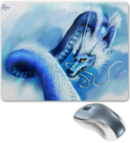 """Коврик для мышки """"Голубой небесный дракон"""" - дракон, небо, облака"""