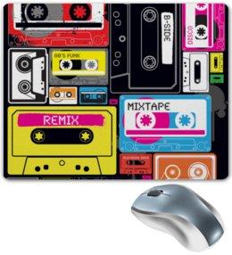 """Коврик для мышки """"Музыкальное ретро"""" - музыкальный, стиль, ретро, рисунок, кассета"""