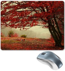 """Коврик для мышки """"Осень """" - red, листья, осень, деревья, autumn, fall"""
