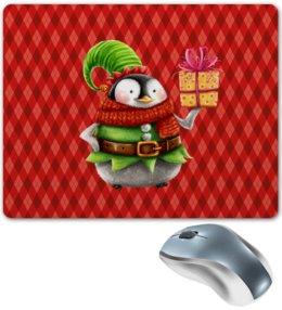 """Коврик для мышки """"пингвин"""" - новый год, зима, птицы, подарки, пингвин"""