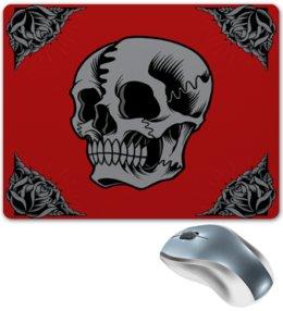 """Коврик для мышки """"Череп"""" - череп, цветы, узор, скелет, розы"""