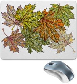 """Коврик для мышки """"Осенний кленовый узор"""" - узор, листья, осень, растения, мехенди"""