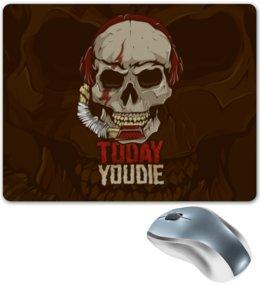"""Коврик для мышки """"Череп"""" - today you die, skull, зубы, микрофон, скелет"""