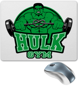 "Коврик для мышки ""Hulk Gym"" - marvel, мстители, марвел, сила, халк"