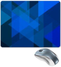 """Коврик для мышки """"Синий абстрактный"""" - графика, синий, краски, абстракция, треугольники"""