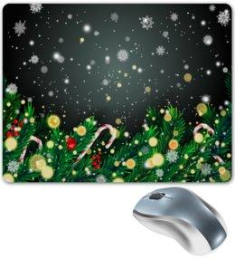 """Коврик для мышки """"Падающий снег"""" - игрушки, елка, новый год, подарки, снежинки"""