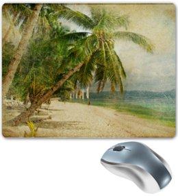 """Коврик для мышки """"Песочный пляж и океан с пальмой"""" - пальма, море, отдых, винтаж"""