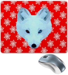 """Коврик для мышки """"Белый волк"""" - животные, лиса, волк, белый медведь"""