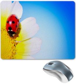 """Коврик для мышки """"Божья коровка"""" - небо, природа, насекомые, подсолнух, божья коровка"""