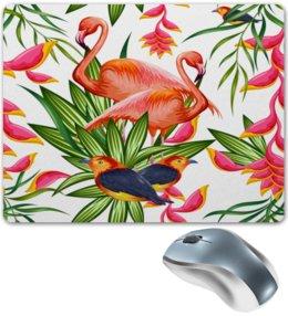 """Коврик для мышки """"Птицы и цветы"""" - лето, цветы, птицы, природа, фламинго"""