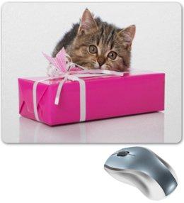 """Коврик для мышки """"Подарок"""" - подарок, кот, коты, кошка, животные"""