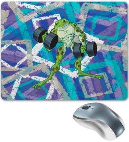"Коврик для мышки ""Спорт"" - лягушка, жаба, узор, гантели, спорт"