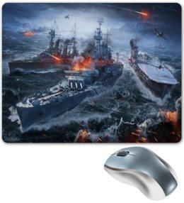 """Коврик для мышки """"Корабли"""" - корабль, море, огонь, война, самолет"""