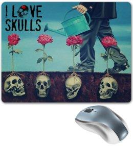 """Коврик для мышки """"Skull Art"""" - skull, череп, черепа, розы, roses"""