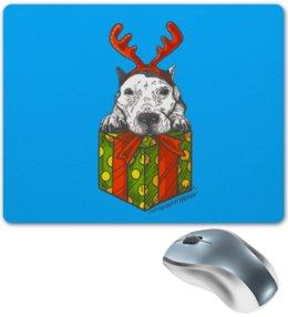 """Коврик для мышки """"новый год"""" - новый год, зима, собака, подарок, год собаки"""