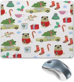 """Коврик для мышки """"Новый год"""" - снежинки, собаки, елка, рождество, новый год"""