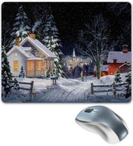 """Коврик для мышки """"ЗИМНИЙ ВЕЧЕР"""" - снег, деревья, дома, деревня, звездное небо"""