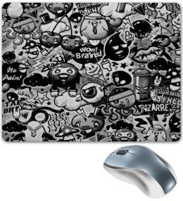 """Коврик для мышки """"Мульт черно-белый"""" - комиксы, мульт, angry birds, черно-белые, энгри бердз"""