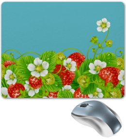 """Коврик для мышки """"Земляничная поляна"""" - лето, цветы, ягоды, земляника"""
