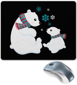 """Коврик для мышки """"Белые медведи"""" - новый год, медведь, мишка, снежинки, белый медведь"""