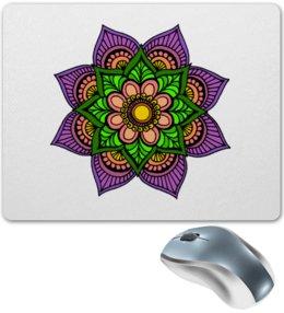 "Коврик для мышки ""Цветок в стиле мехенди"" - цветы, индийский, мехенди"